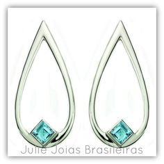 Brincos em prata 950 e topázio blue sky (950 silver earrings with blue sky topaz)