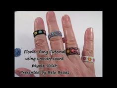 Flower Ring Tutorial - using uneven peyote stitch - Easy Instructions - YouTube
