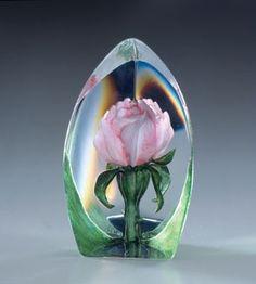 Mats Jonasson Pink Rose Glass Paperweight