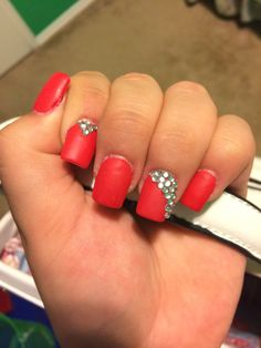 I did my own nails! Matte red nails with rhinestones