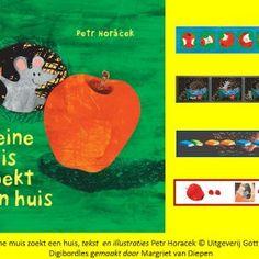 Digibordles-kleine-muis-zoekt-een-huis-1 De les oefent verschillende begrippen die in de lijn van het boek liggen. Zo eet muis telkens een stukje van de appel. Kunnen de kinderen de plaatjes van de appel op volgorde leggen? Mol houdt erg van boeken en heeft er veel. Hij is steeds op zoek naar een ander boek.  Bij dit spel oefenen de kinderen met rangtelwoorden. Daarnaast is er nog een spel waarin de ruimtelijke begrippen aan bod komen. Het laatste spel oefent klankgroepen; welk woord is…