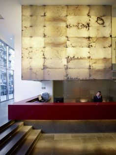 + Ayre Hotel Rosellon, Barcelona, Spain by Wortmann Architects + Guillermo Bañares Arquitectos + Carlos Narváez Architects + Hotel Reception, Reception Design, Office Reception, Reception Table, Lobby Interior, Interior Architecture, Commercial Design, Commercial Interiors, Lobby Design