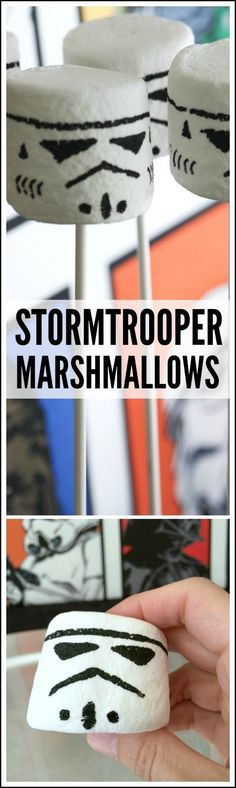 How To Make Stormtrooper Marshmallows. See more Star Wars party ideas at CatchMyParty.com.