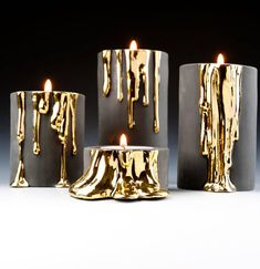 Are you interested in our Black candle holder? With our decorative tea light holder you need look no further. candle holder Black Candle Holders With Dripping Gold Modern Candles, Gold Candles, Black Candles, Diy Candles, Scented Candles, Yankee Candles, Natural Candles, Unique Candles, Candle Wax