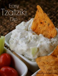 Healthy Game Day Snack: Easy Tzatziki Dip. Ready in 5 minutes flat. #GiantFlavor