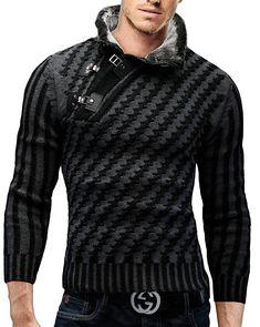 Merish Strickpullover Pullover Fellkragen Strickjacke Hoodie Slim Fit Herren 8030 Schwarz S: Amazon.de: Bekleidung