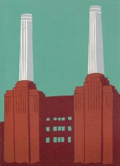 Battersea Power Station (burgundy II) by Jennie Ing, linocut print in edition of 25 Battersea Power Station, Art Deco Stil, Art Deco Buildings, Wood Engraving, Linocut Prints, Willis Tower, Burgundy, Architecture, Printmaking