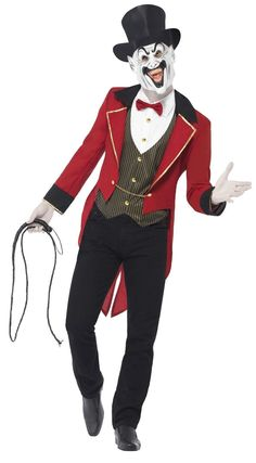 Buy Adult Sinister Ringmaster Costume, available for Next Day Delivery. Take Centre Stage at the Circus of Horrors with our Adult Sinister Ringmaster Costume. Costume Ringmaster, Costume Halloween, Halloween Fancy Dress, Halloween Kostüm, Halloween Outfits, Mens Clown Costume, Halloween Clothes, Halloween Vampire, Costume Ideas
