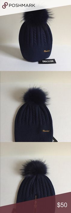 Moschino Wool Hat with Raccoon Fur No OFFERS NWT NWT MOSCHINO wool hat with raccoon fur Pom. The Pom is detachable. One size. Golden zipper on the back with the Moschino charm. Material- wool blend. Made in Italy. Navy with navy Pom. Moschino Accessories Hats