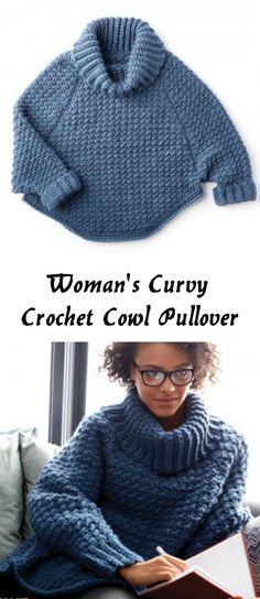 Curvy Crochet Cowl Pullover Woman's Curvy Crochet Cowl Pullover- love the heaviness and the collar but I'd make it normal length sweater.Woman's Curvy Crochet Cowl Pullover- love the heaviness and the collar but I'd make it normal length sweater. Crochet Jacket, Crochet Cardigan, Crochet Scarves, Crochet Shawl, Crochet Clothes, Knit Crochet, Crochet Sweaters, Diy Clothes, Crochet Hoodie