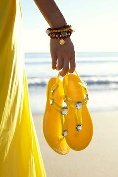 yellow beach sandals ~ Colette Le Mason @}-,-;---