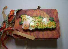 Pumpkin Carving Mini Chipboard Album Fall Mini by HampshireRose, $28.00