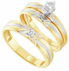 Three Piece Wedding Set 10K Yellow Gold 0.11 cts. GD-39565 [GD-39565] - $339.99 : Diamonds, Engagement Rings, Wedding Bands, His and Hers Sets, America's Largest Engagement Ring and Wedding Band Distributor.