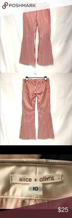 Alice +Olivia red and cream striped flare leg pant Red and cream striped pants flare bottom.these are a small size 10 in my opinion. They are cotton poly blend. Pocket detailing is show only, they are not functional. Inseam is 30 inches. Alice + Olivia Pants Boot Cut & Flare