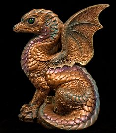 Spectral Dragon - Copper Patina, Painted Fantasy Figurine / Statue $172.00
