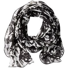 Calvin Klein Splatter Paint Ruffle Scarf (Black) ($38) ❤ liked on Polyvore featuring accessories, scarves, ruffle scarf, long scarves, patterned scarves, ruffled shawl and oblong scarves