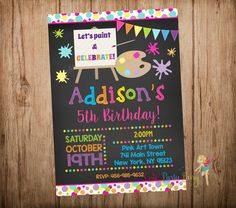 Painting Party Invitation, Art Party Invitation, Chalkboard Paint Party Invitation, Chalkboard Art Party,  Do-It-Yourself Digital File.