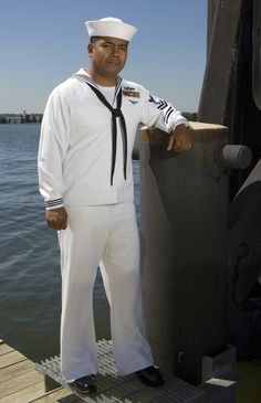 File Us Navy A Sailor Shows Off Prototype Service Dress White Uniform That Focuses On Better Fabric And Fit Of The Without Drastically Changing
