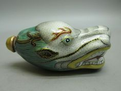 Chinese Porcelain Carved Dragon Head Shape Snuff Bottle