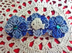 Blue Flower and Fish barrette by angelsandcrafts on Etsy, $5.00