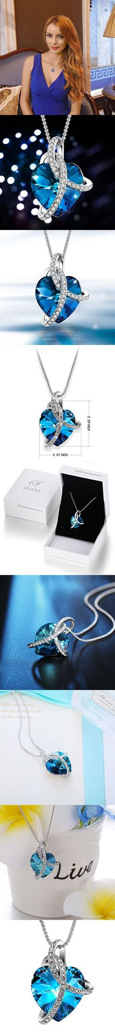 """SIVERY Ocean Blue """"Love Heart"""" Fashion Pendant Necklace, Made with Swarovski Crystals, Valentines Day Gifts"""