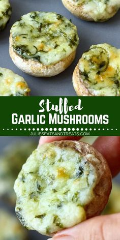 Looking for small bitesize appetizers you can make on Oktoberfest party, Superbowl or Gameday or this coming holiday season? Try this Stuffed Garlic Mushrooms. These quick and easy stuffed mushrooms are rich and full of flavors thanks to garlic, butter, p Bite Size Appetizers, Finger Food Appetizers, Holiday Appetizers, Appetizers For Party, Appetizers Superbowl, Appetizers For Potluck, Finger Foods, Thanksgiving Appetizers, Mushroom Appetizers