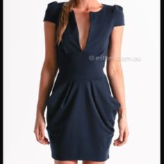 Navy dress from Australian Esther boutique Low cut navy dress from Esther Boutique. Never worn. Taking offers! Dresses