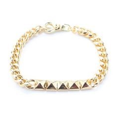 Bracelet is solid brass plated in Gold. Noir Jewelry, Solid Brass, Jewelry Bracelets, Objects, My Style, Gold, Bags, Bling Bling, Accessories
