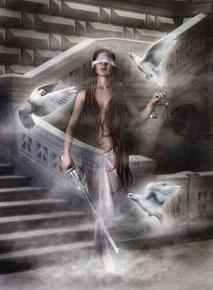 Halls of Justice by wolfmorphine on deviantART Libra Art, Zodiac Art, Libra Zodiac, Angel Warrior, Fantasy Warrior, Dark Fantasy Art, Dark Art, Libra Tattoo, Angels