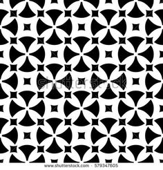 Vector seamless pattern, abstract ornamental background. Simple black & white geometric figures, rounded crosses, squares. Repeat monochrome texture. Design for prints, decoration, textile, fabric