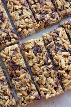 Gluten-free 'no bake' Granola Bars  1 3/4 cups gluten-free oats  1 3/4 cup gluten-free rice cereal or rice krispies  ½ cup shredded coconut  1/8 cup ground flax seed  1/3 cup honey  1/3 cup brown sugar  pinch of salt  1/3 cup creamy peanut butter – with the recall, you can use almond or sunflower butter  1 teaspoon vanilla extract  1/2 cup mini chocolate chips – or replace with dried fruit