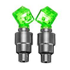 2 unids/lote dados LED Bike la bicicleta Car Wheel Motor tapa del vástago de válvula del neumático de la lámpara de neón