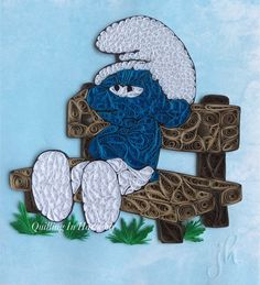 "Quilling ""Grumpy Smurf"" 8""x10"" 20cmx26cm). Hand crafted paper artwork for sale by Jan and Shannon Howard. For custom orders please contact us at quilling_in_harmony@hotmail.com"