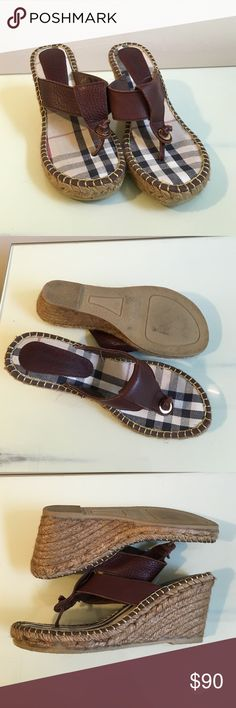 Authentic Burberry wedges Gently worn/ great condition Burberry wedges! Brown leather straps. Comment for more info! Burberry Shoes Wedges