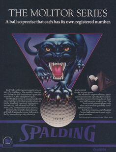 1976 Spalding Molitor Series Golf Balls Ad Black Panther Illustration Vintage Advertising Wall Art Decor