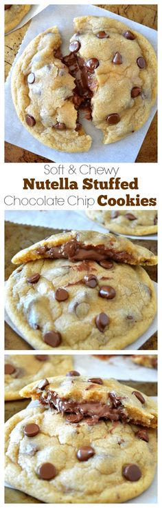 Super chewy, bakery style, huge nutella stuffe d chocolate chip cookies! So unbelievably soft, moist, and CHEWY! Baking Recipes, Cookie Recipes, Dessert Recipes, Just Desserts, Delicious Desserts, Yummy Food, Think Food, Love Food, Nutella Recipes