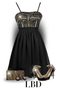 """""""LBD Black & Gold"""" by majezy ❤ liked on Polyvore featuring Balmain and Kate Spade"""
