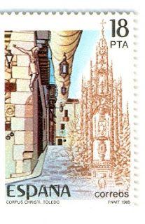 Corpus Christi de Toledo y la Custodia de Enrique de Arfe en el sello de España del año 1985.