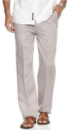 Cubavera Pants, Linen Pinstriped Drawstring Pants