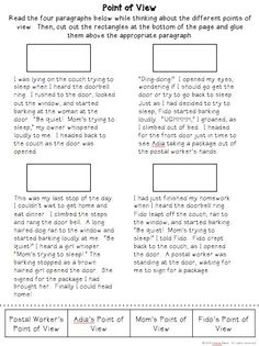 First, Second or Third Person Points of View Worksheet ...