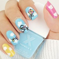 """'Flying Kite' Nails  Product Snapshot  & Tutorial coming soon  """"Let's go fly a kite up to the highest high let's go fly a kite and send it soaring...""""   One of my fondest childhood memories was going to the park with family & friends to fly kites  Seeing the kites high up in the sky would make me so happy  If you've never flown a kite before definitely try it. It's so much fun!   #formulax #sephora #nails #nailart #kitenails #kite #clouds #flyingkites #childhoodmemories #21dollynails  by…"""
