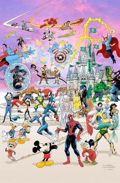 """Le poster """"Epic Misney"""" par  T Campbell et John Waltrip est un gros mashup des personnages de Disney et des personnages de Marvel ;) Et oui pour ceux qui ne savaient pas… Disney a racheté les droits Marvel !"""