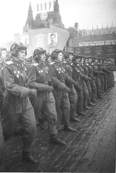 """""""Victory parade"""" 24ijunja 1945. Moscow. The Soviet Union.Commissioned officers, tankmen."""