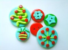 Button Retro Christmas   polymer clay buttons   6 by digitsdesigns, $7.50