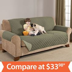 Quilted Water-Absorbant Reversible Furniture Protectors - Sofa (Various Colors) - Sam's Club