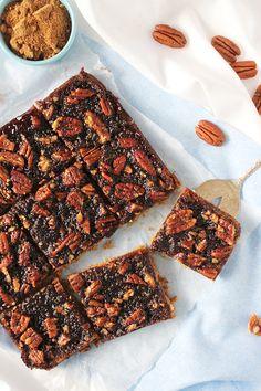 {Vegan, Refined Sugar Free, Healthy} Chewy Pecan Slice - Healthy 'n Happy