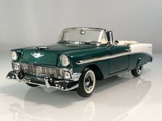 Franklin Mint '56 Chevrolet Bel Air Convertible Sherwood Green 1:24 Diecast Car #FranklinMint #Chevrolet 1956 Chevy Bel Air, Chevrolet Bel Air, Franklin Mint, Maybach, Buick, Plymouth, Scale Models, Cool Cars, Diecast