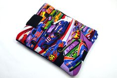 Hand Crafted Tablet Case from Race Car Cotton Fabric/ Tablet Case for iPad, Kindle Fire HD, Samsung Galaxy, Nook HD, Google Nexus #racecar #cars #carlovers  #NASCAR #iPad #Kindle #samsunggalaxy #Christmasgift #forhim