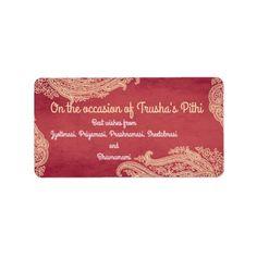 Indian Wedding, Hindu Wedding, Mehndi, red, gold Label | Zazzle.com