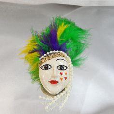 Vintage Lady Brooch Porcelain Flapper Mardi Gras Long by waalaa, $32.99